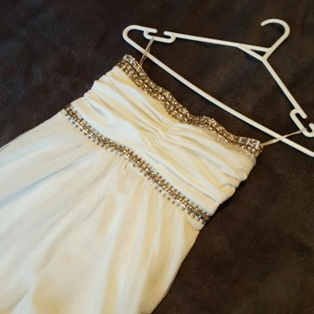 Floor Length Grecian Inspired WHITE & Stud Detail Maxi