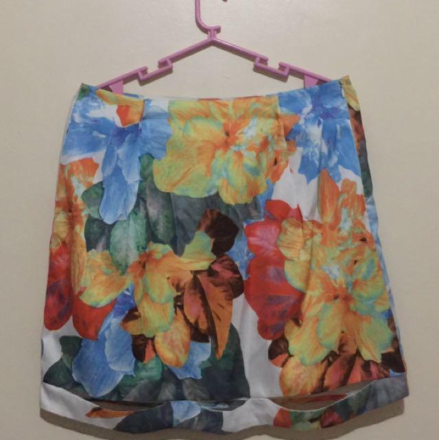Floral Skirt W/ Holes Design At The Hem