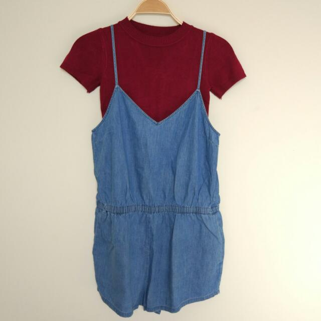 Forever 21 Denim Jumpsuit Fit To M