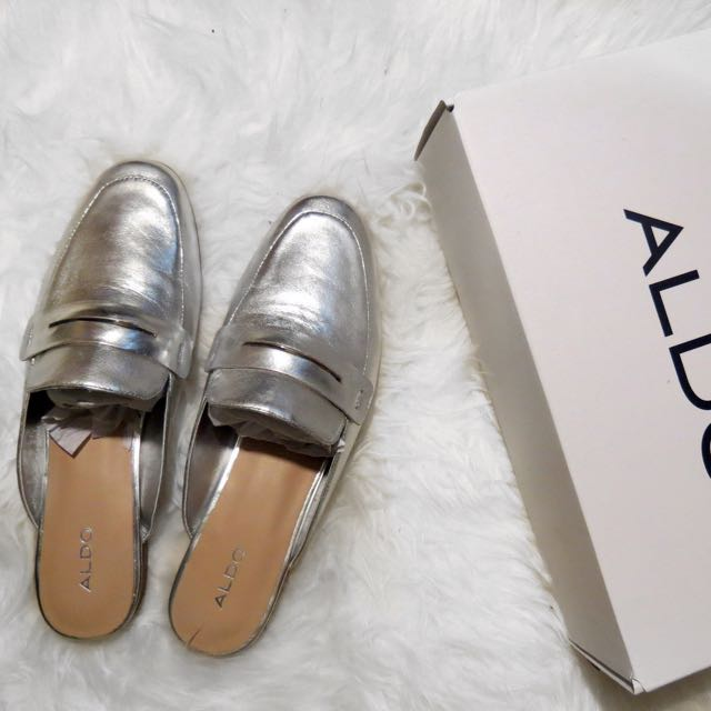 Genuine Leather Gucci Inspired Silver Mules