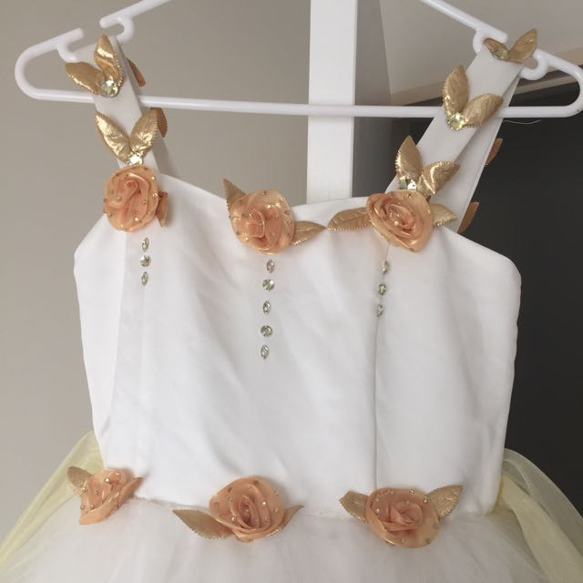 Girl's white and gold floral wide strap dress