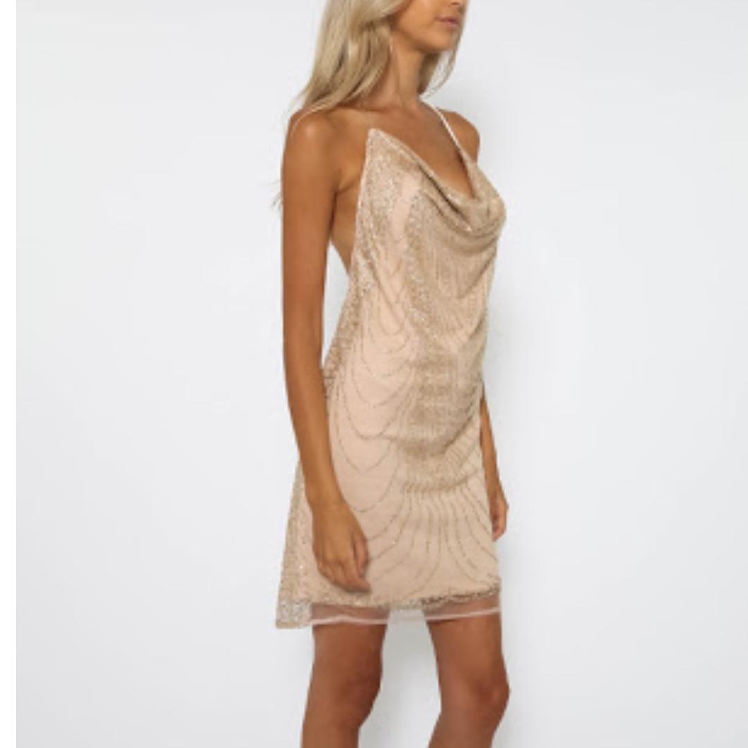 Gold Boulder Backless Dress