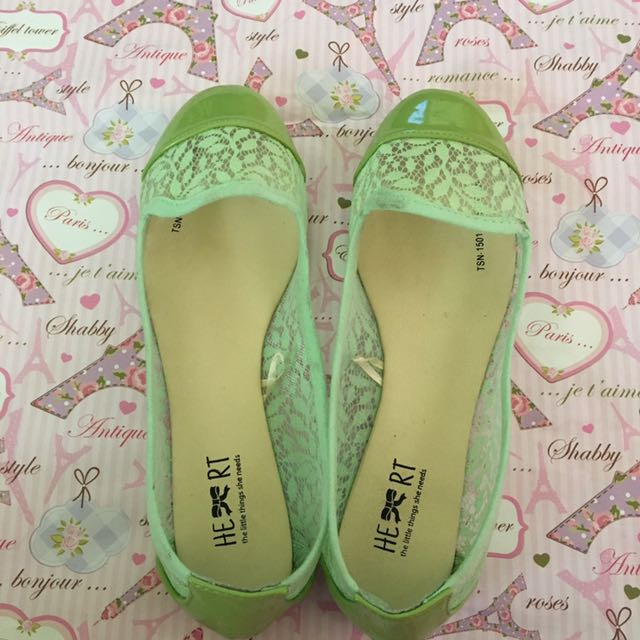 Green lace Flatshoes TLTSN