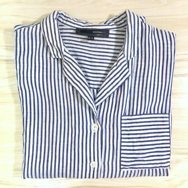 H:CONNECT藍白條紋短袖襯衫上衣