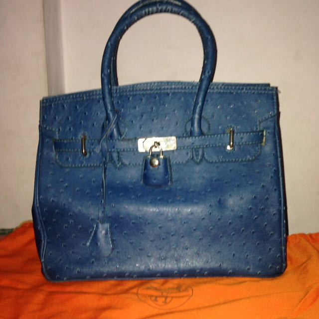 Hermes Ostrich Preloved Blue Light