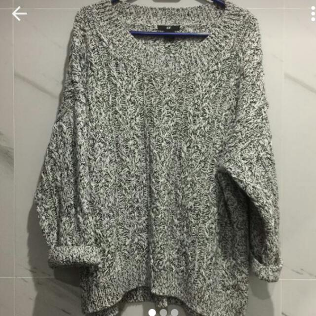 H&M Black And White Woven Sweater  Large