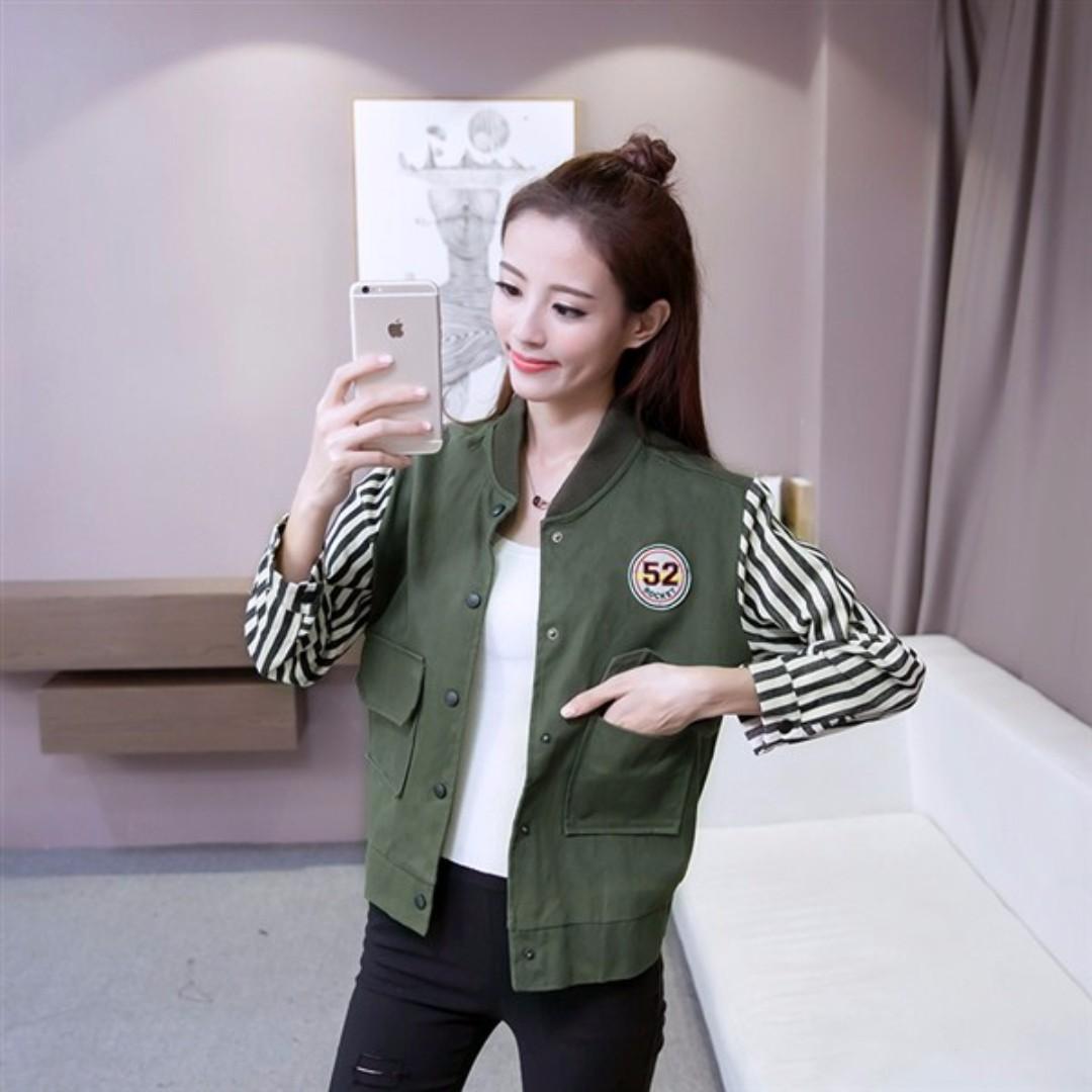 HQ 16450 Sports Fake 2pcs Jacket (GREEN)