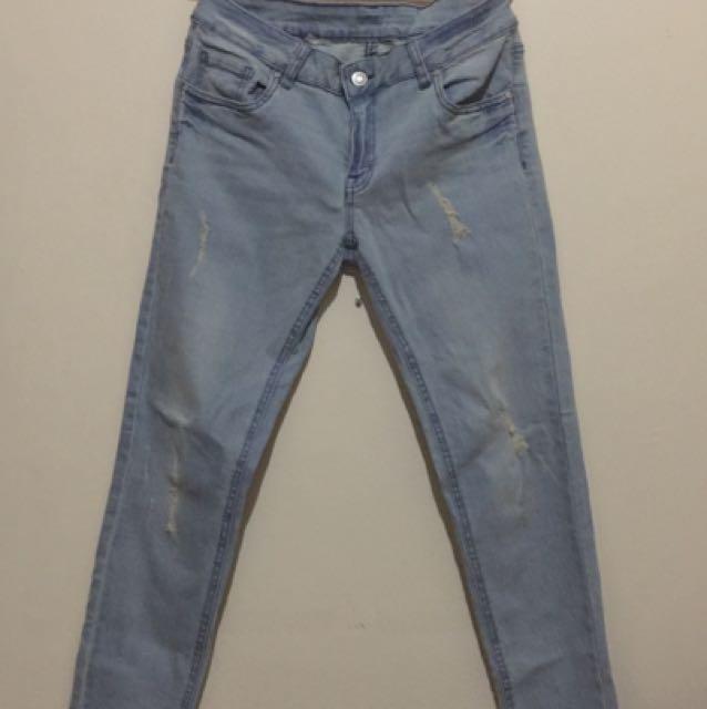 Light washed Denim Low Waist Pants