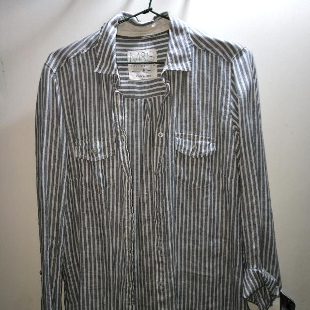 Linen White/Grey Striped Shirt
