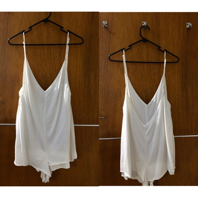 Low Back White Playsuit