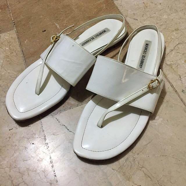 Manolo Blahnik White Sandals