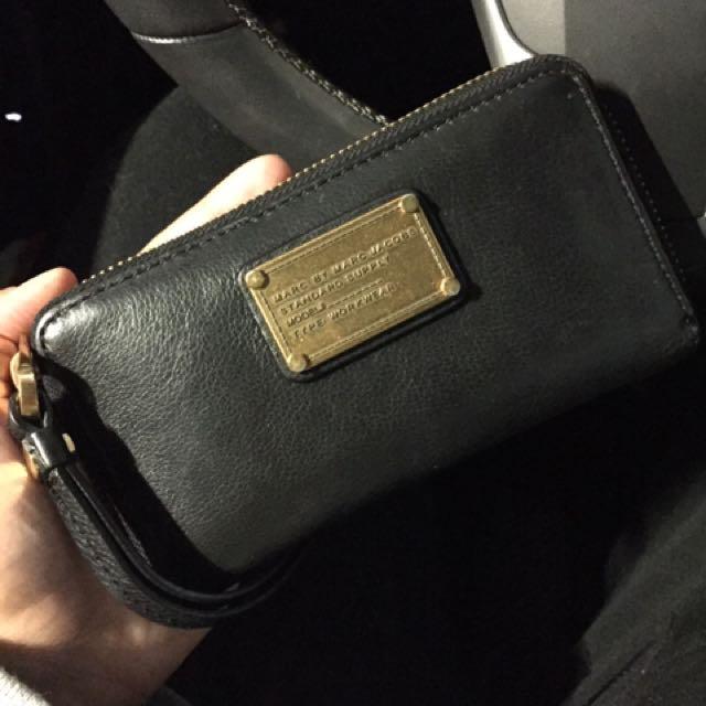 Marc Jacobs Wallet Wristlet Black Leather & Gold