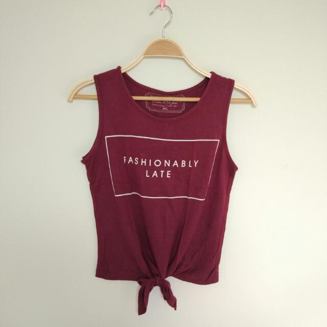 Maroon Crop Tee Fit To M/L