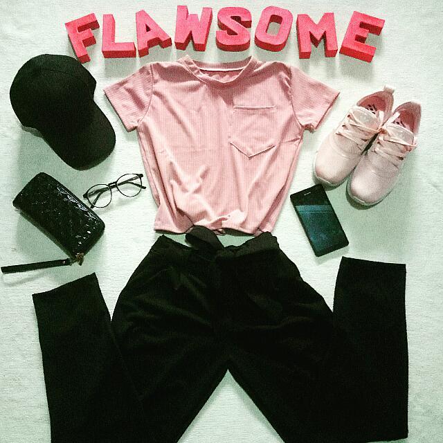 Matte Pink Pocket Top Matte Black Trouser