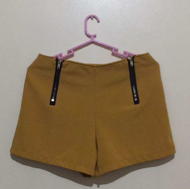 Mustard Shorts W/ Zip