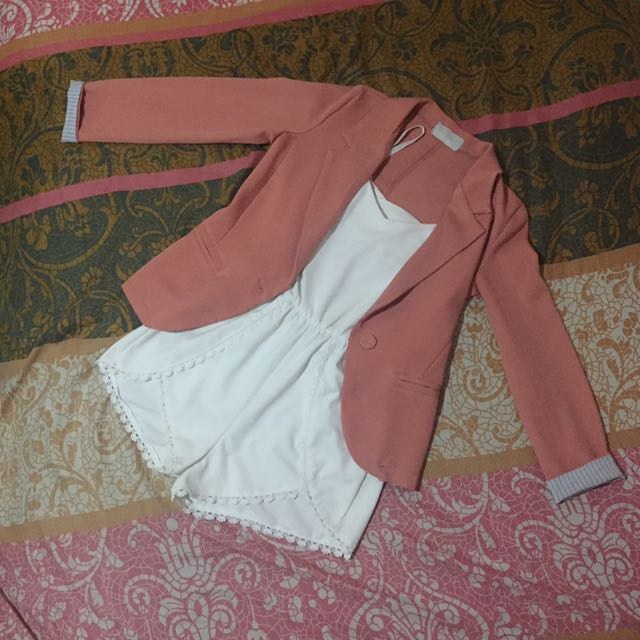 Pink Korean blazer and White Romper