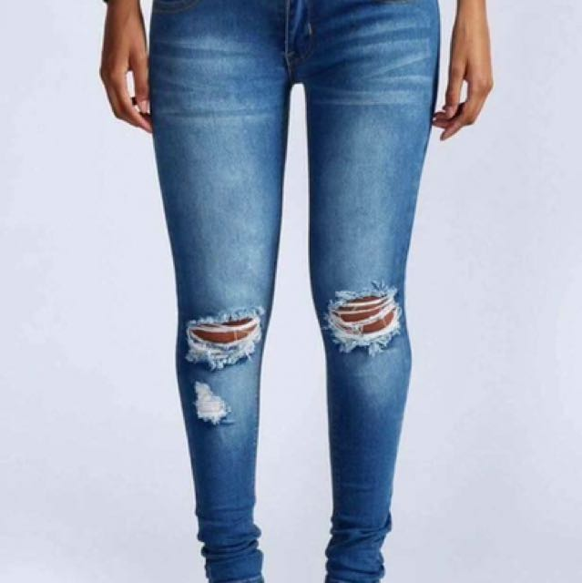 Plus Size Tattered Jeans