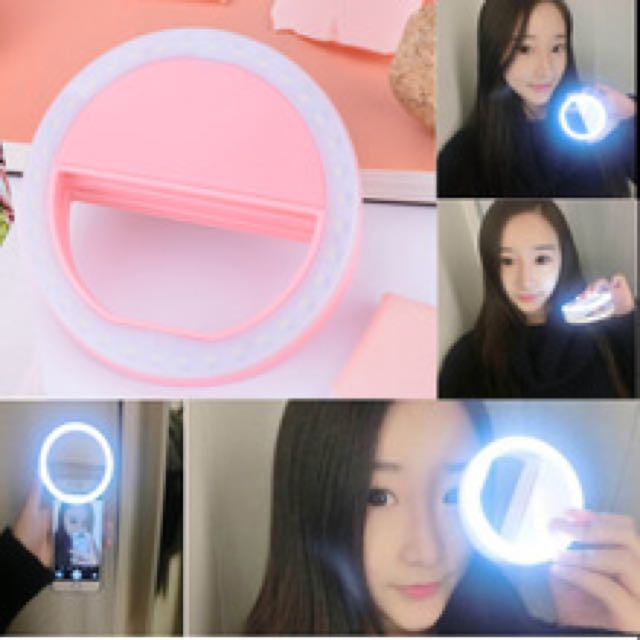 Rechargeable Selfie Ring Light with LED Camera Photography Flash Light Up Selfie Luminous Ring with USB Cable Universal for All Phones