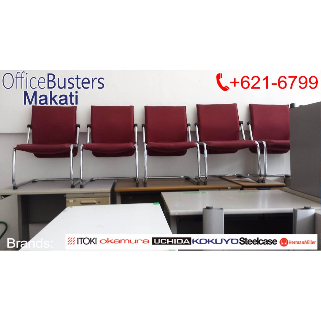 Red Meeting Chair- Japan's Surplus Office Furniture Used
