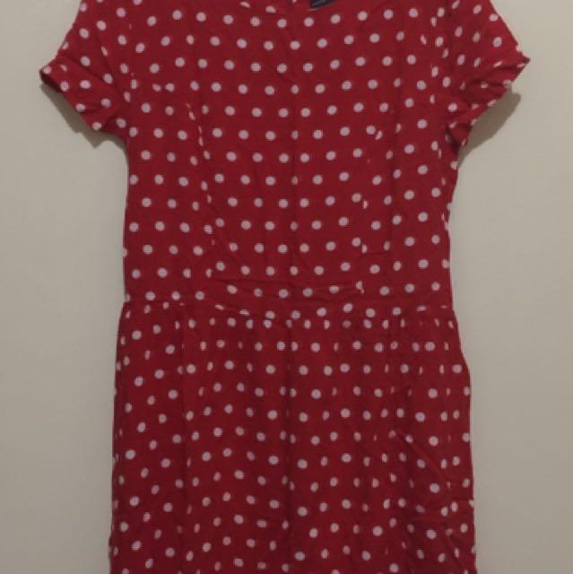 Red Polka Dot Short Sleeves Dress