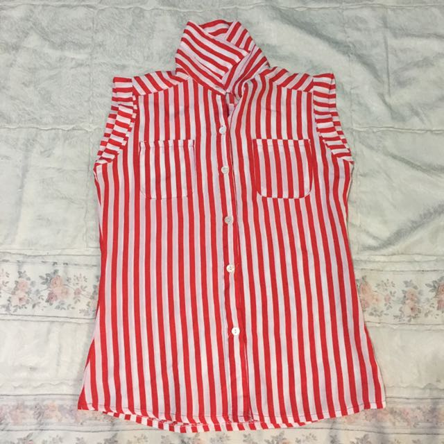 Red Stripes Sleeveless Top