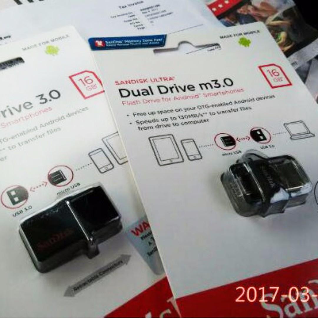 Sandisk Otg 16gb M30 Micro Drive Ultra Dual Usb Pendrive Mobiles 30 Photo