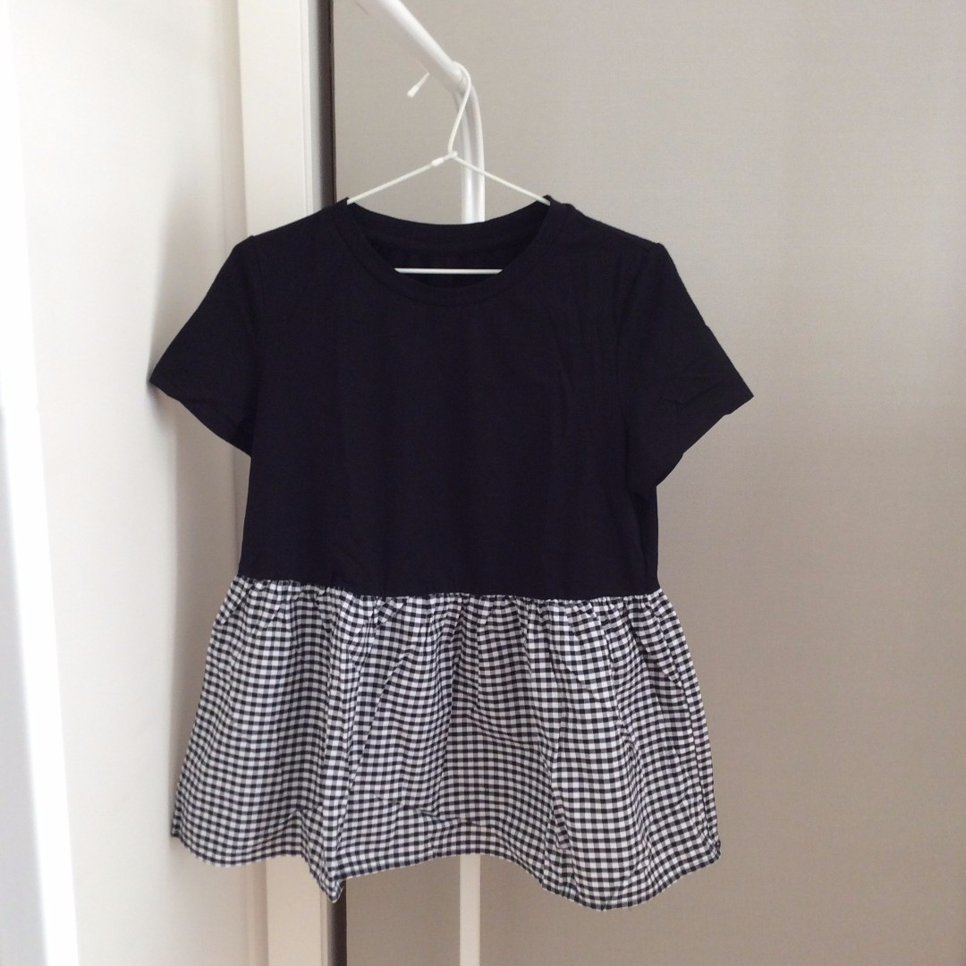 SHEIN Gingham Ruffle Trim Baby Doll Black T-Shirt Tee Top