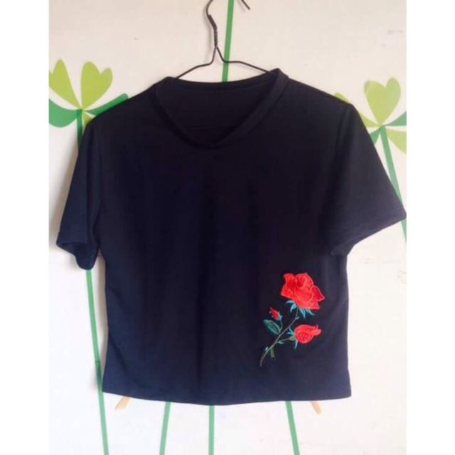 Shirt With Rose Embroidery