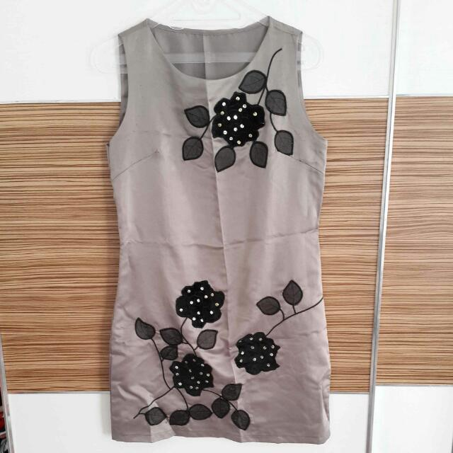 Silver Dress With Black Flower
