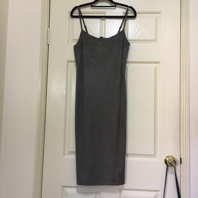 Suede Khaki Green Midi Dress