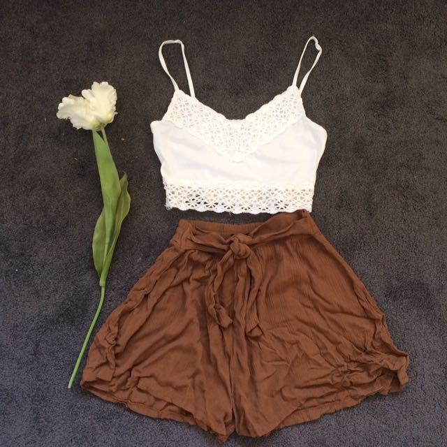 Textured Brown Shorts