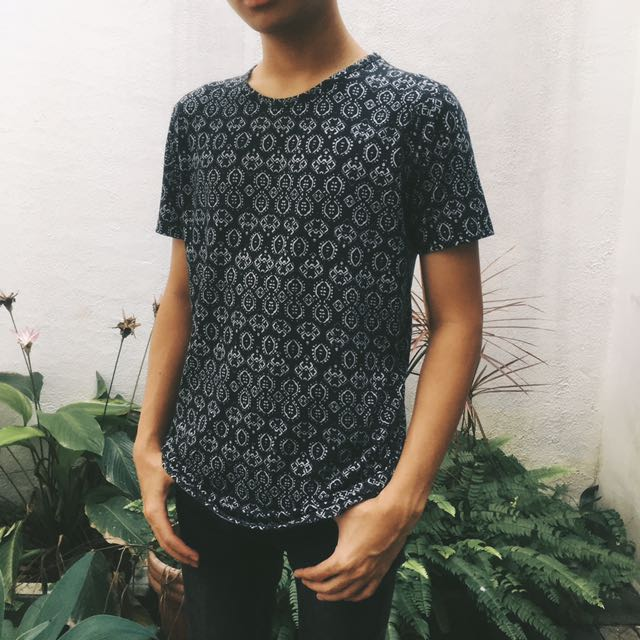 Topman's Black T-Shirt With Pattern