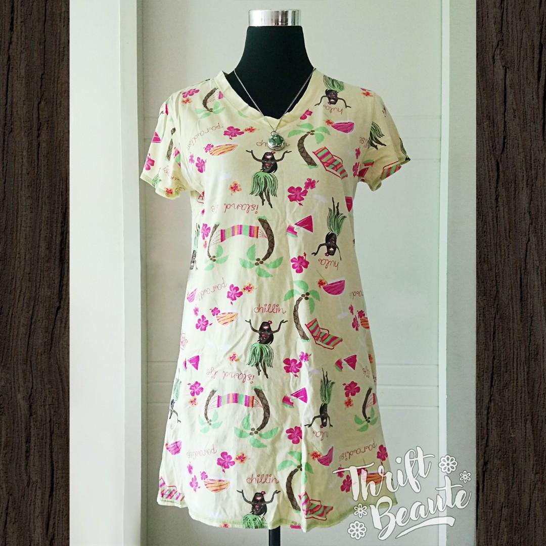 Yellow Hawaii Print V-Neck Tshirt Dress