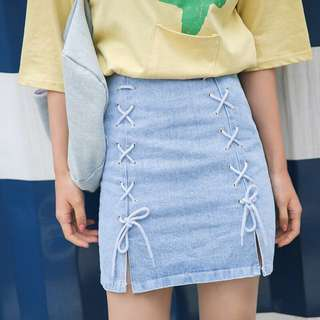 Laced Up Light Denim A-Line Skirt