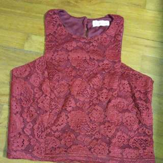 Wine Red Lacy Crop Top