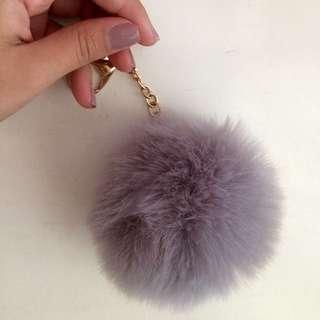 Grey Pom-Pom Keychain