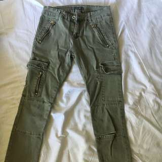 Olive Ripped Jeans