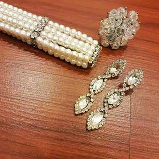 Elegant Set ~ Pearl Bracelet, Crystal Ring And Earrings