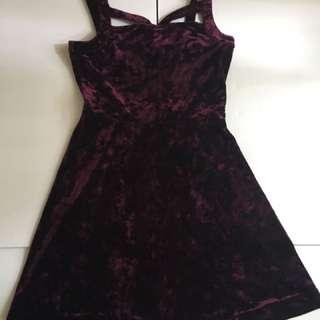 Wine Velvet Skater Dress