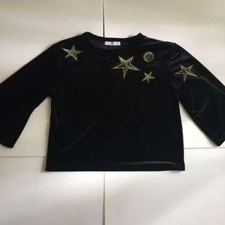 MANGO Black Velvet Blouse