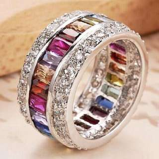 Size 7 Crystal Rainbow Ring! Absolutely Gorgeous To Wear!