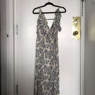 Topshop Blue & White Floral Dress (xs/s)