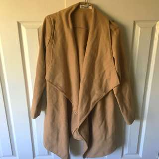 "Size 8 Beige/Brown ""throwover"" Coat/cardigan"