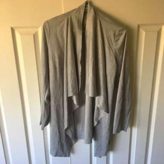 Size 8 Grey Suede Waterfall Cardigan