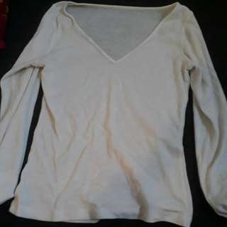 Cream White Long Sleeve Top