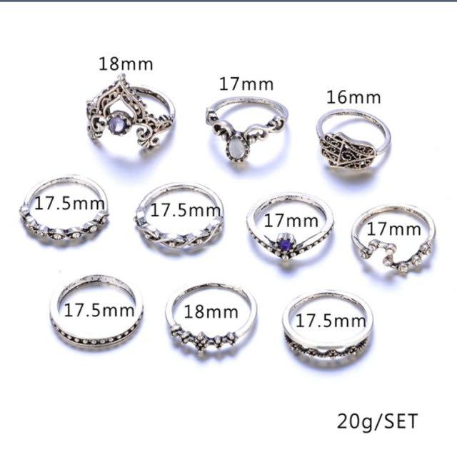 10pcs Rings Set
