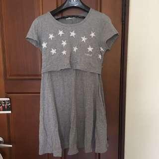 🐻星星灰色洋裝 孕婦裝 哺乳裝
