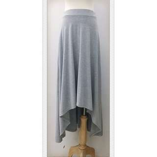 017S298 - 前短後長波希米雅風側開衩彈性棉質長裙