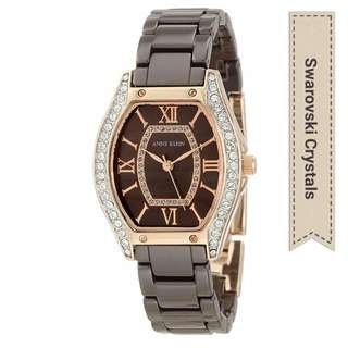 Anne Klein Women's Ceramic Swarovski Crystal Accented Rosegold Ceramic Watch