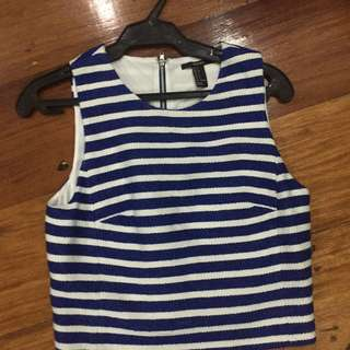 Forever 21 Blue And White Cropped Top